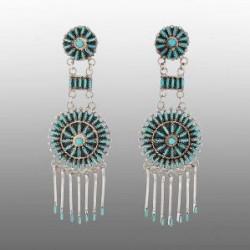 Zuni Needlepoint Dangle Earrings Turquoise
