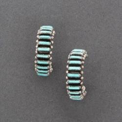 Zuni Earrings of Turquoise Needlepoint Hoops