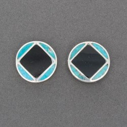 Old Zuni Earrings of Jet and Turquoise