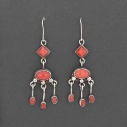 Greg Lewis Orange Coral Dangle Earrings