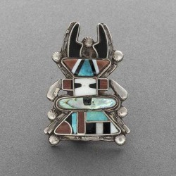Zuni Antelope Kachina Inlay Set Earrings and Pin1