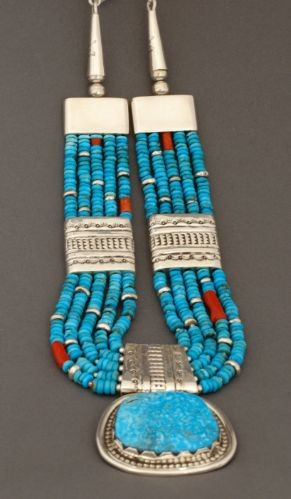 Wayne Aguilar Necklace of Turquoise and Silver