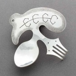 Darrell Jumbo Silver Sculpture  Fork and Spoon Bird