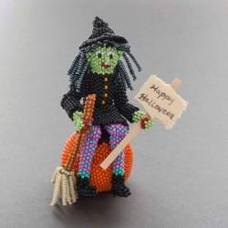 Zuni Beaded Witch on a Pumpkin by Lorena Laahty